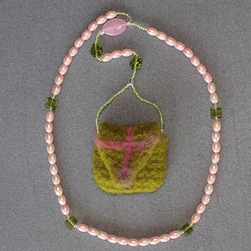 Felted Pouch Rosary 1